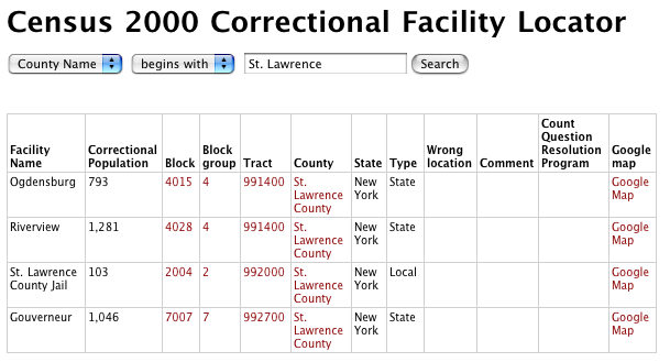 screenshot of the correctional facility locator results for St. Lawrence County