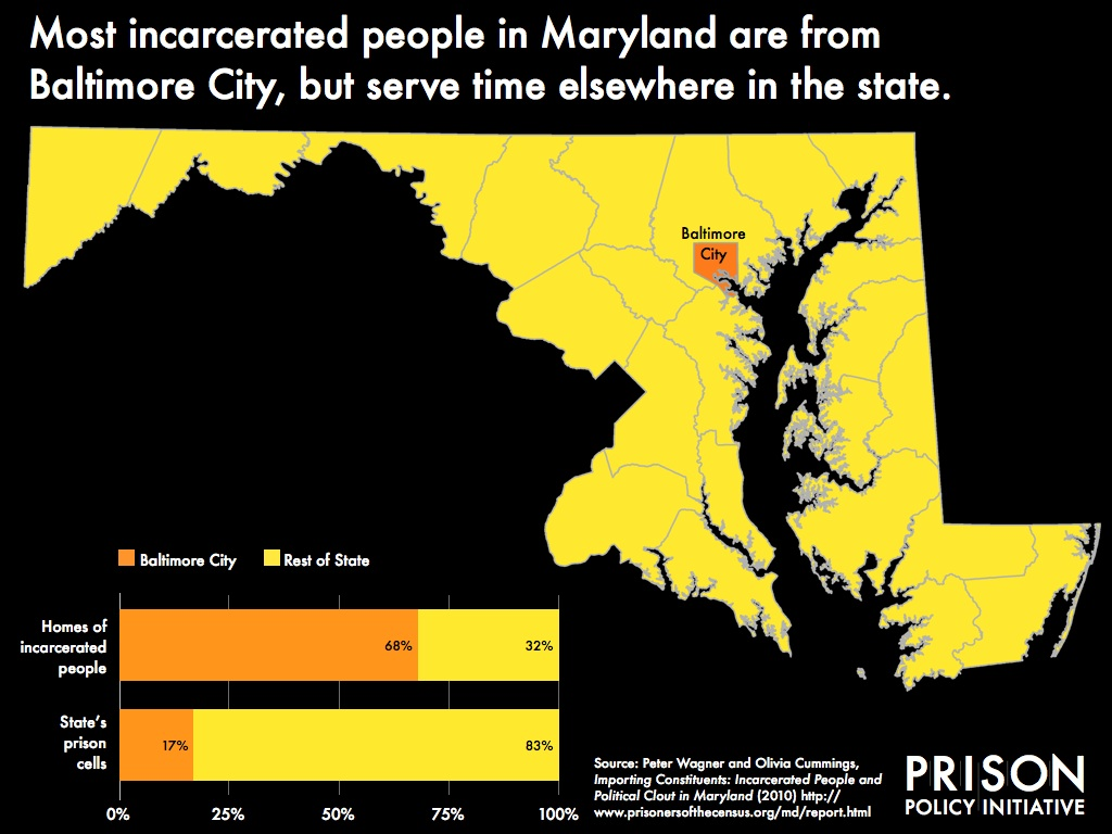 Map showing that 68% of incarcerated people in Maryland are from 