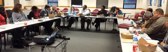 Greg Moore and Deidre Reese leading a discussion about ending prison gerrymandering in Ohio on November 22, 2013.
