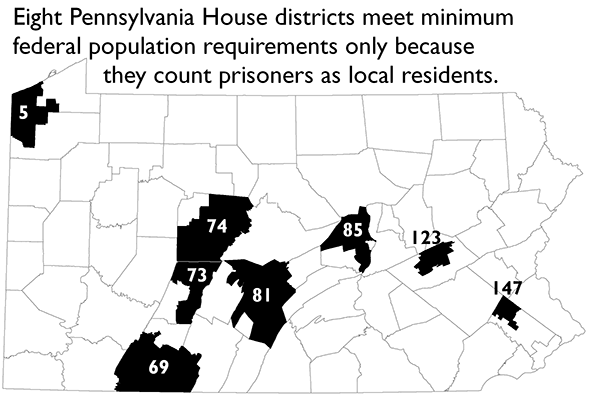 map highlighting the 8 PA House Districts that meet minimum federal population requirements only because prisoners are included as residents of the district with the prison