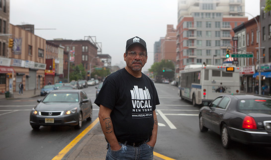 Ramon Velasquez outside VOCAL's office on Fourth Avenue in Brooklyn, New York