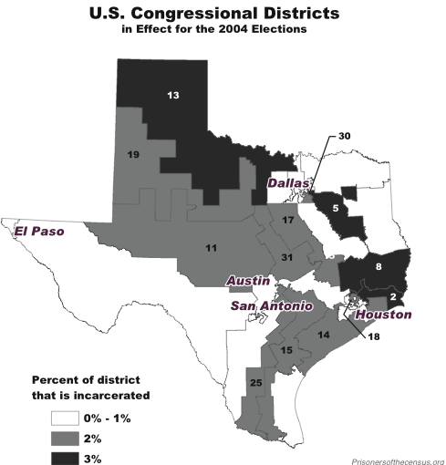 Texas Congressional Districts and incarcerated populations