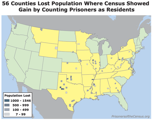 Map showing the 56 counties that the Census 2000 reported as growing when, except for prisoners counted as residents, they shrank during the 1990s
