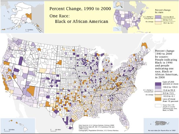 Census Bureau map showing growth of Black population in each county in the U.S. 1990-2000