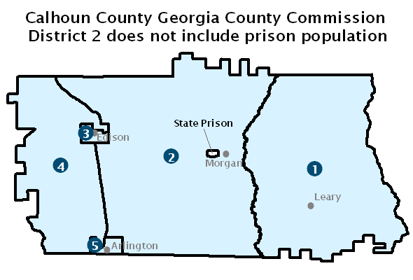 Map of Calhoun County Georgia County Commission districts