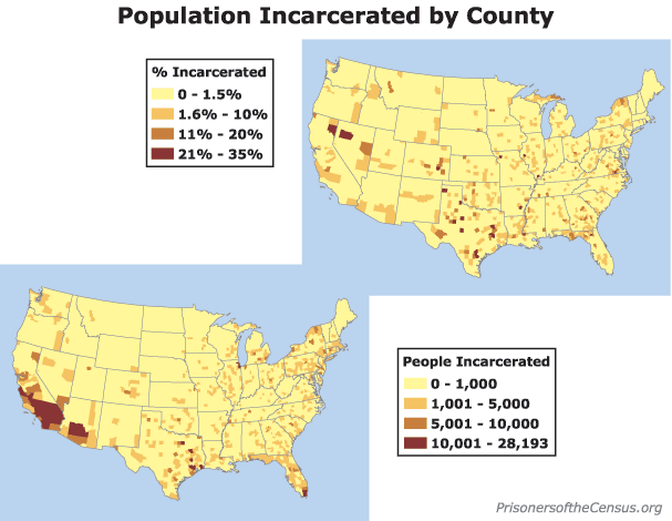 map showing US counties and their incarcerated populations