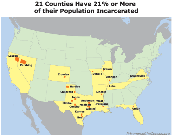 Map showing the 21 counties that have at least 21% of their population incarcerated