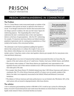 thumbnail of fact sheet about prison gerrymandering in Connecticut