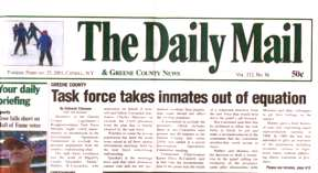 newspaper scan showing the headline 'inmates taken out of equation'