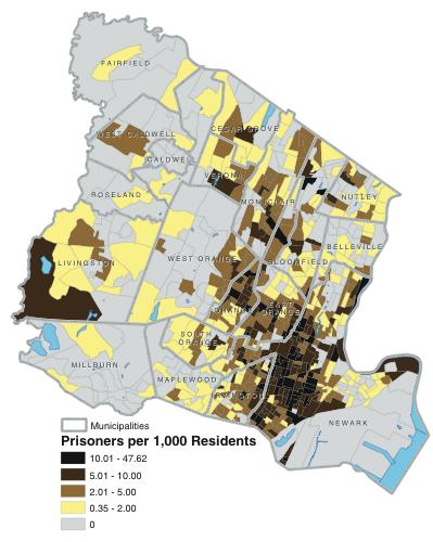 Prison Admissions per 1,000 Residents by Block-Group, Essex County, New Jersey, 2001