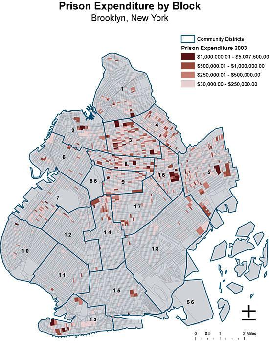 Eric Cadora's map of Brooklyn prisoner concentrations