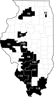 Map highlighting the 11 Illinois House Districts with the largest prison populations