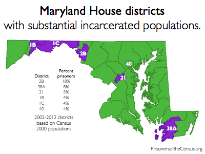 map showing Maryland house districts that contain the largest prison populations
