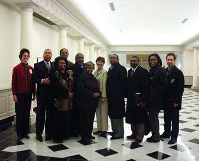 Some of the people who came out to testify and show their support for ending prison-based gerrymandering at a March 4, 2010 hearing at the Maryland House of Delegates. Cindy Boersma is in the center in the green suit.