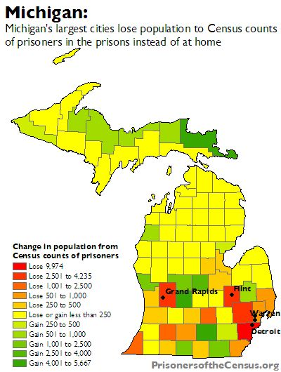 map showing net gain or loss of each county in Michigan from the counting prisoners as resident of the prison town and not their home of origin