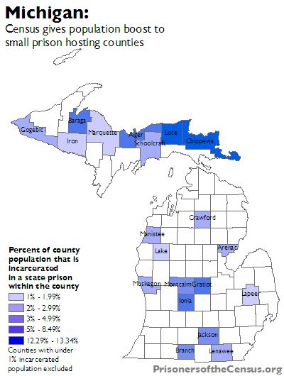 map showing percentage change in each Michigan county's population from inclusion of prisoners