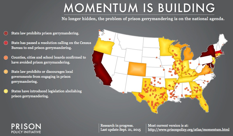 Map showing the growing national momentum to end prison-based gerrymandering, including actions by state and local governments