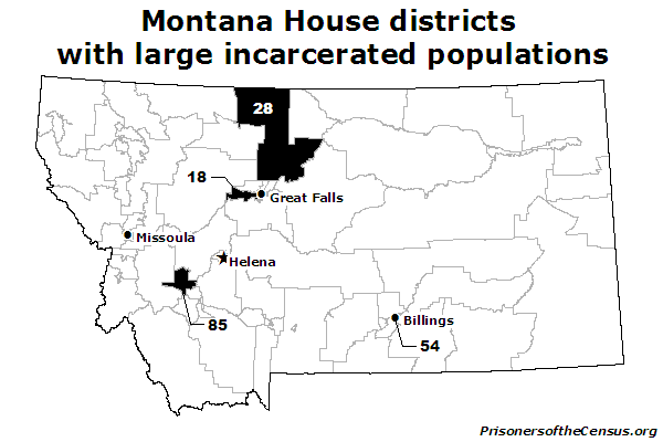 map showing the which house districts contain Montana's largest correctional institutions