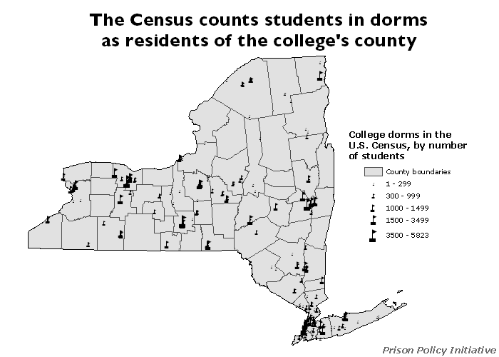 map showing the location and sizes of the college dorm population on a map of New York State counties