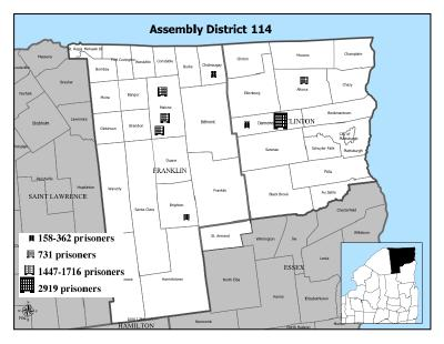 map showing New York Assembly District 114 represented by Chris Ortloff. The map shows the borders of the district, its location in the north east corner of the state and the location of the prisons in the district