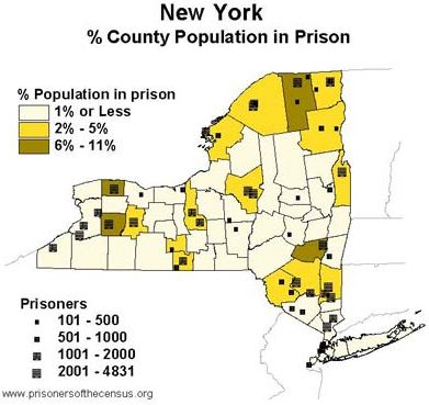 graphical display of counties in New York showing how much of each county's reported population is prisoners