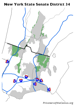 map of NYS Senate District 34 with parks added