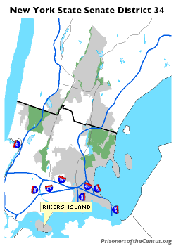 map of NYS Senate District 34 with Rikers Island emphasized