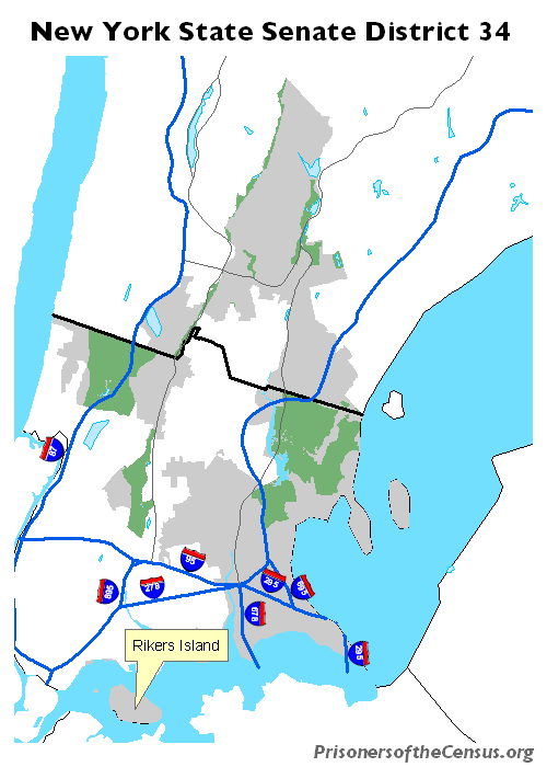 map of NYS senate district 34 with social and cultural features added to show how fragmented the district actually is