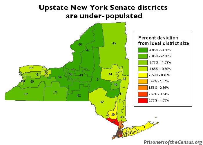 New York State Senate districts by population deviation
