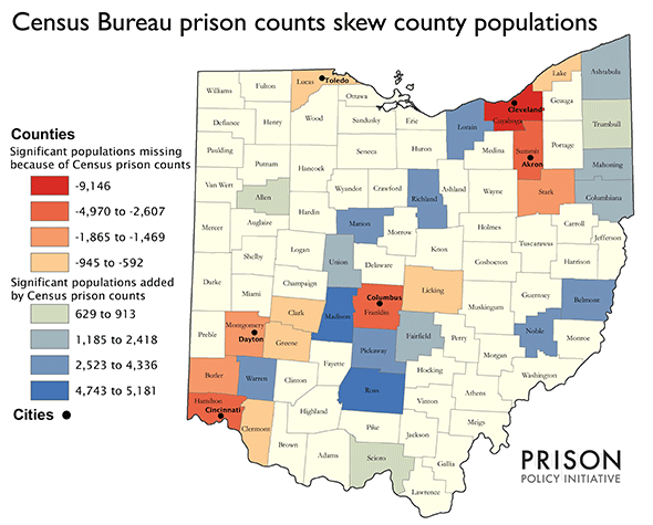 Map showing that significant populations are missing or added to counties by the Census prison counts. Counties lose as many as 9,146 people or gain as many as 5,181.
