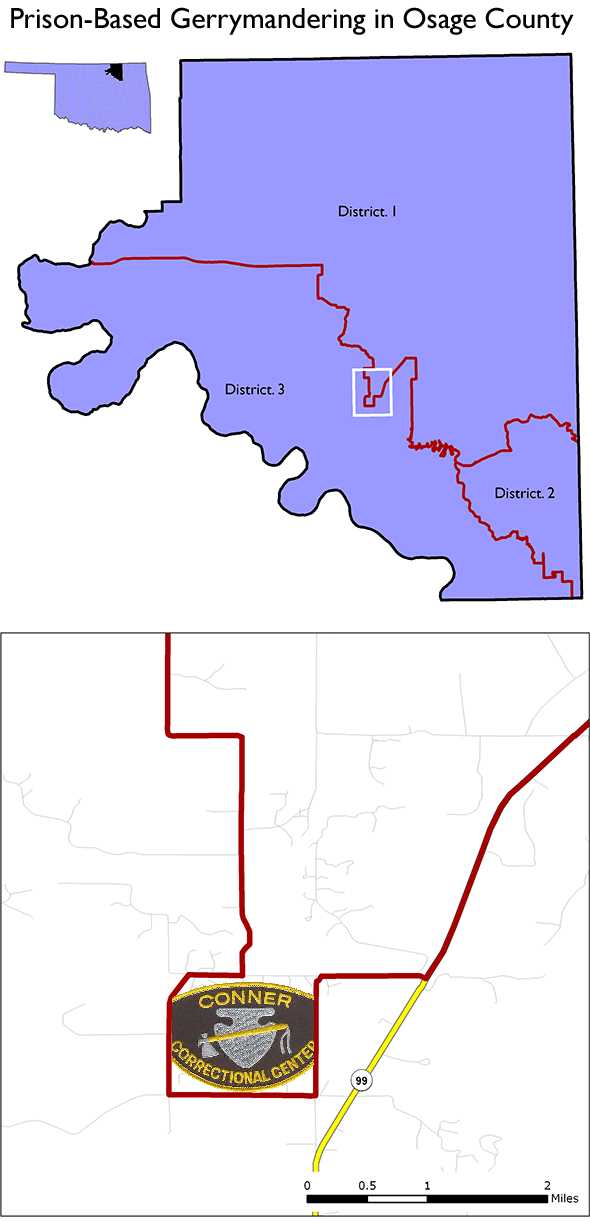 map showing how Osage County Oklahoma District 1 goes out of its way to include a large prison