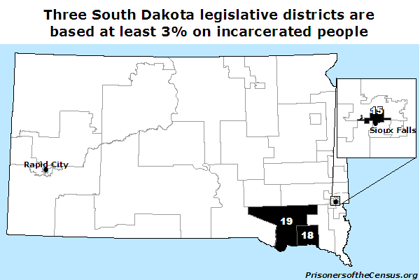 map of south dakota legislative districts with large prison populations