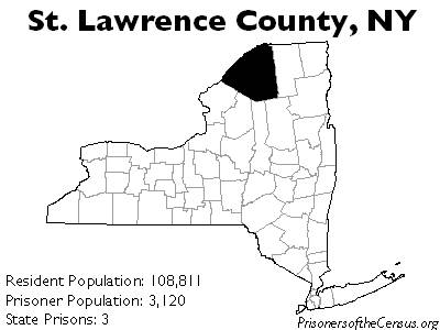 map showing St. Lawrence County in Upstate NY