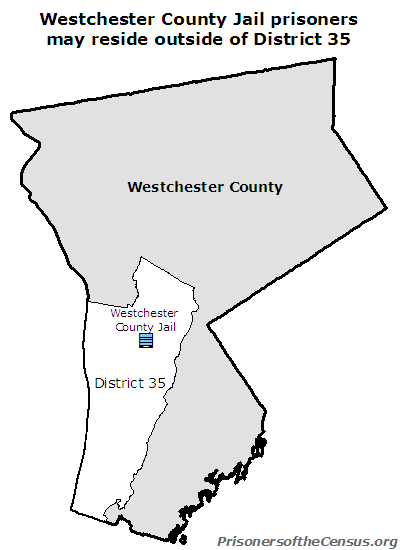 map showing the Westchester County Jail in New York Senate District 35