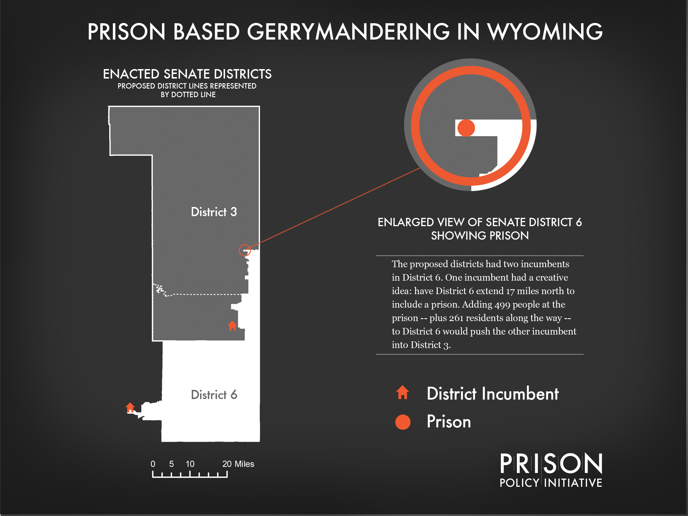 Map of 17 mile prison-based gerrymander in Wyoming, 2012